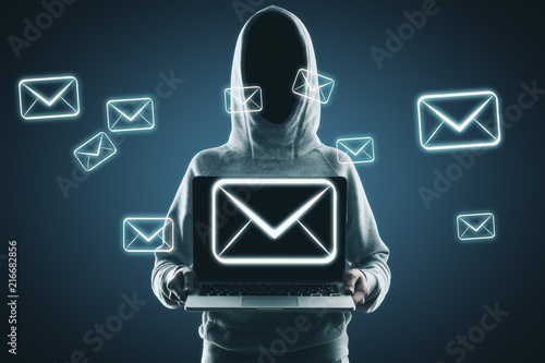 Leinwanddruck Bild Email and hacking concept