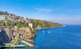 Daylight view of coastline Sorrento and Gulf of Naples, Italy