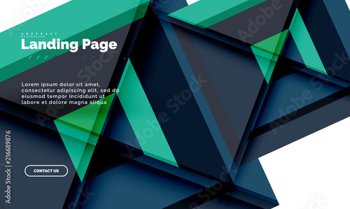 Square shape geometric abstract background, landing page web design template - 216689876