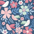 Vector pattern with flowers and birds. Seamless floral design. - 216692424