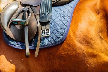 Detailed close up of horse saddle with stirrup