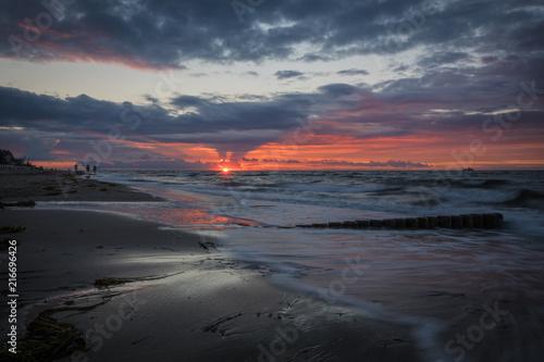 Canvas Zee zonsondergang Feuer am Horizont in Kühlungsborn