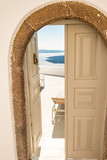 typical architecture of houses on the island of Santorini in Greece in the Cyclades - 216697600
