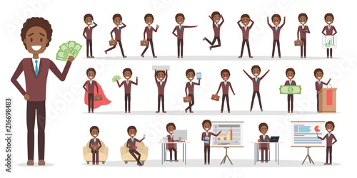 Poster Set of businessman character