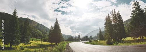scenery mountain road in the Carpathians mountains, Ukraine - 216701065