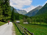 Austrian Alps-cyclist in the valley Lessachtal