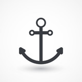 Anchor sign line vector icon. Security. Travel symbol. Nautical drogue sign. Sea and sailing symbol