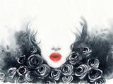 beautiful woman. fashion illustration. watercolor painting - 216717838