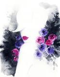 beautiful woman. fashion illustration. watercolor painting - 216717877