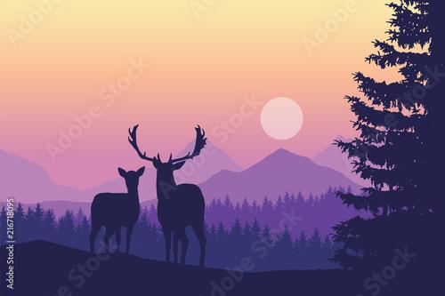 jelenie-na-lace-w-fioletowej-mgle-poranka