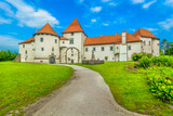 Varazdin town castle architecture. / Scenic view at old castle in Northern Croatia, famous landmark in Varzdin baroque city. - 216721268