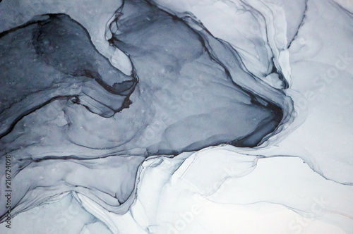 Ink, paint, abstract. Closeup of the painting. Colorful abstract painting background. Highly-textured oil paint. High quality details. Alcohol ink modern abstract painting, modern contemporary art. - 216724098