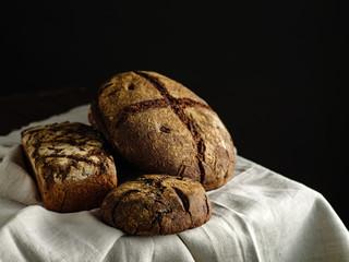 Homemade rye bread. Rustic style