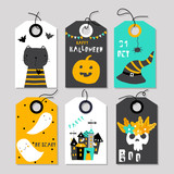Set of cute Halloween tags. Vector hand drawn illustration. - 216725062