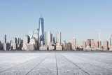 empty street with modern city new york as background - 216727669