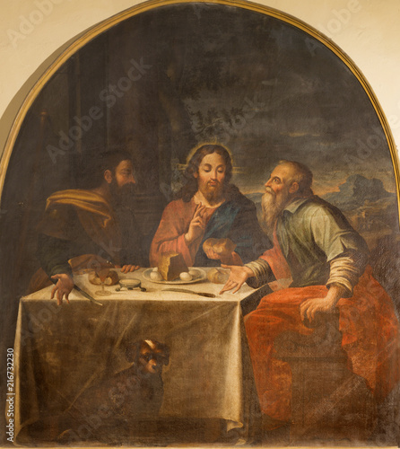 MODENA, ITALY - APRIL 14, 2018: The in painting of Crucifixion in church Chiesa di Sant Barnaba by Francesco Vellani (1751). © Renáta Sedmáková