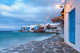 Famous view of Mikri Venetia or Little Venice at sunrise in Mykonos City, Chora, on the island Mykonos, The island of the winds, Greece - 216735618