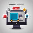 online shopping delivery truck computer screen buy sale offers vector illustration