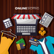 online shopping computer shop store dress credit cards wallet shirt vector illustration