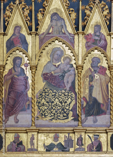 Foto Spatwand Jezus Christus BOLOGNA, ITALY - APRIL 18, 2018: The detail of polyptych with the Madonna, St. Peter and John the Baptist on the side altar of St. Brigid in Basilica di San Petroniois by Tommaso Garelli (1477).