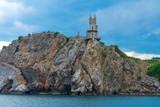 Swallows Nest castle on the rock over the Black Sea, Crimea, Yalta. landmark of Crimea, view from sea - 216742414