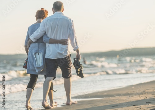 Portrait of an elderly couple hugging