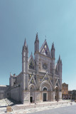 Facade of Orvieto Cathedral in Orvieto, Italy
