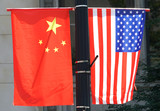 hanging national flags of China and USA - 216747662