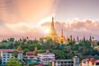 Leinwandbild Motiv Yangon skyline with Shwedagon Pagoda in Myanmar