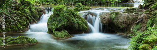 Panoramic view of small waterfalls streaming into small pond in green forest in long exposure - 216750678