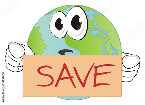 Fototapeta earth, planet, world, globe, universe, space, solar system, land, cartoon, geography, face, hands, hold, save