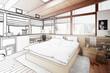 Leinwandbild Motiv Verandaausbau zum Schlafzimmer (Skizze)