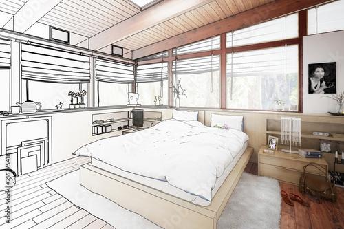 Verandaausbau zum Schlafzimmer (Skizze) - 216775418