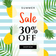 Summer sale Vector illustration. Summer sale with pineapple on blue stripe background.