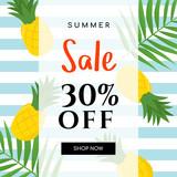 Summer sale Vector illustration. Summer sale with pineapple on blue stripe background. - 216778271