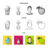 A glass of water, a bottle of alcohol, a sweating man, an apple. Diabeth set collection icons in flat,outline,monochrome style vector symbol stock illustration web.