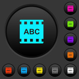 Movie subtitle dark push buttons with color icons