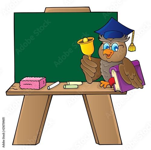 Canvas Voor kinderen Schoolboard with owl teacher