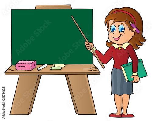 Canvas Voor kinderen Woman teacher standing by schoolboard