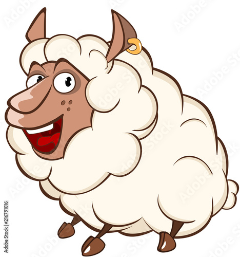Canvas Babykamer Illustration of a Cute Sheep. Cartoon Character