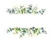Watercolor vector hand painting horizontal banner with green leaves and branches.