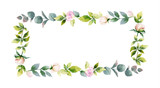 Watercolor vector hand painting frame of peony flowers and green leaves. - 216794605