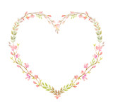 Watercolor vector hand painting frame of pink flowers and green leaves. - 216794627