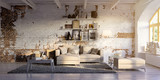 sofa in vintage loft apartment - sofa in altem Backstein Loft - 216794896