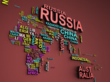 The world map with all states and their names 3d illustration on red