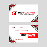 Modern simple horizontal design business cards. with GT Logo inside and transparent red black color.