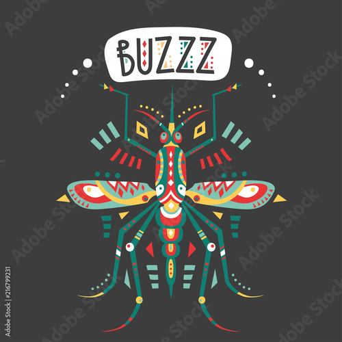 Vector hand-drawn illustration with stylized mosquito and lettering on a black background. - 216799231