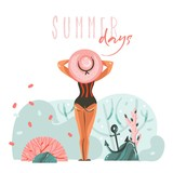 Hand drawn vector abstract cartoon summer time graphic illustrations template cards with girl on beach scene and modern typography Summer days isolated on white background - 216799828
