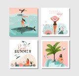 Hand drawn vector abstract graphic cartoon summer time flat illustrations cards template collection set with beach people,mermaid and whale,sunset and tropical birds isolated on white background - 216799873