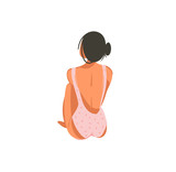 Hand drawn vector abstract graphic cartoon summer time flat illustrations with relaxing girl in pink bikini isolated on white background - 216799881